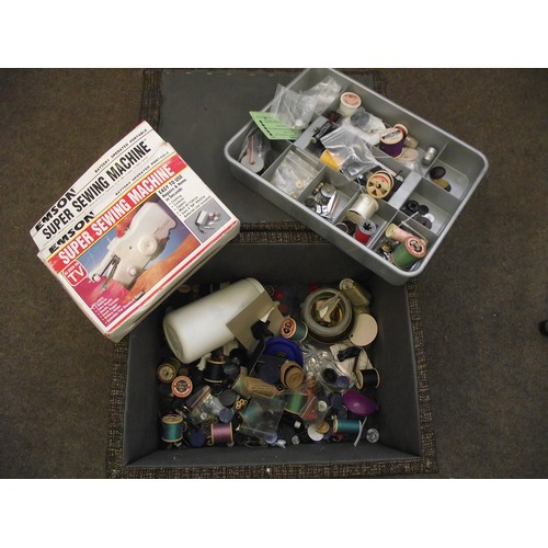 38 - Storage sewing stool and contents....