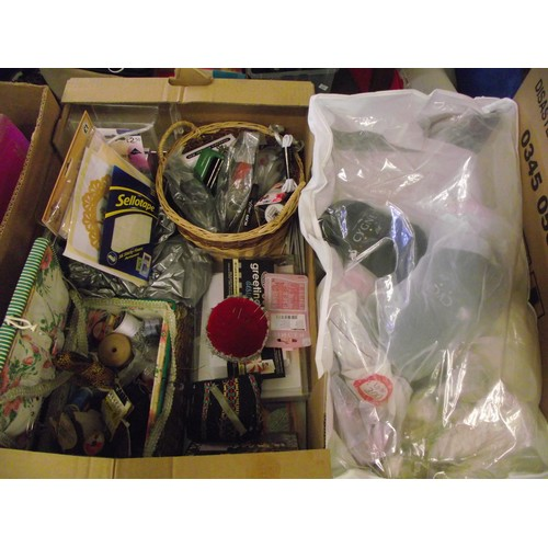 42 - Box of sewing box and wool, stationary ect....