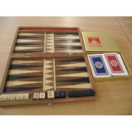52 - Nice hardwood Back Gammon set + vintage cards....