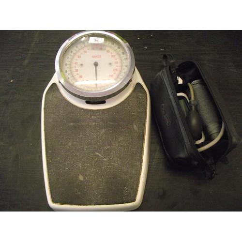 56 - Large 23 stone SECA German bathroom scales + blood pressure monitor....