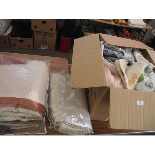 55 - Large box of heavy curtains, linen ect....