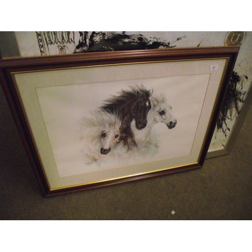 57 - Large 3 Stallions print quality made 38 x 28 inches....