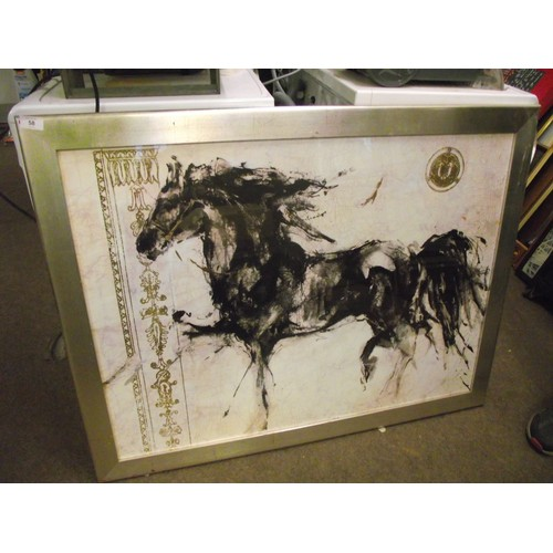 58 - Large superb quality Asian Horse print with Gilt stamp and Ascents has Lepa Zena printed on back. Ap...