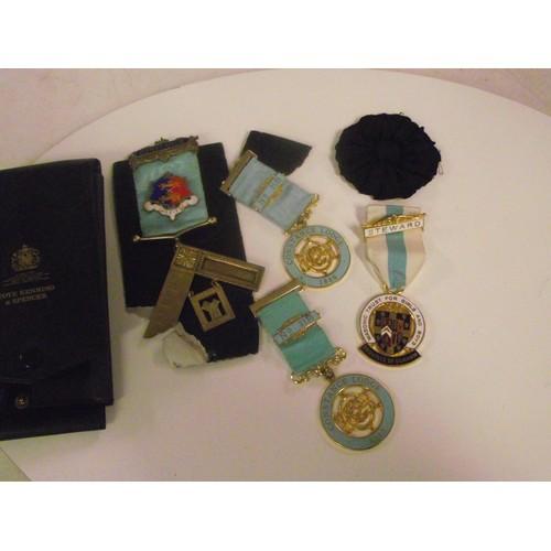 79 - Silver masonic medal etc