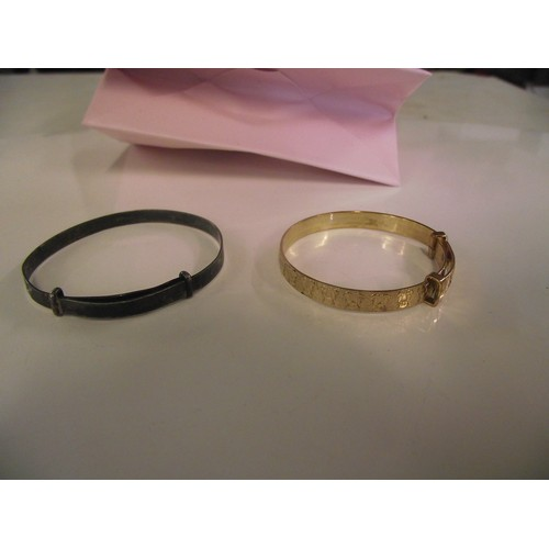 88 - Vintage rolled gold and silver childs bangles