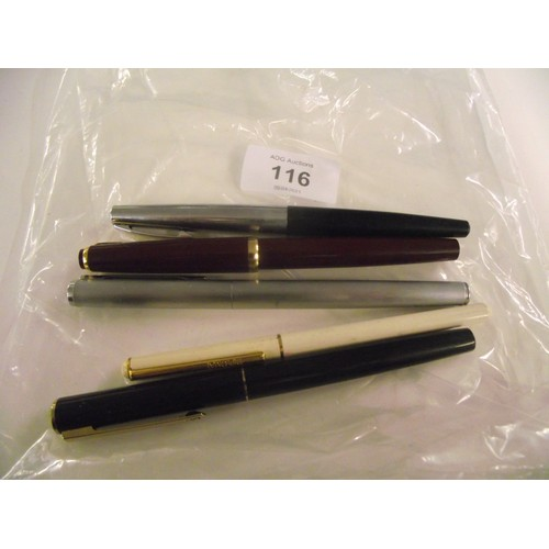 116 - Shaeffer , diplomat and other fountain pens x 5