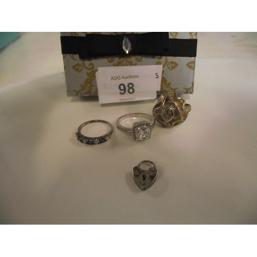 98 - 3 various rings stamped 925 and a silver locket