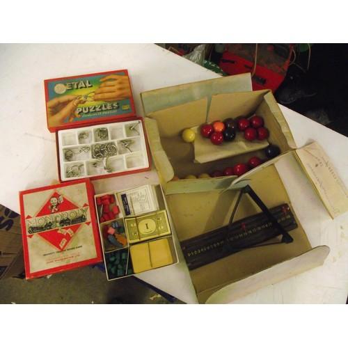131 - Vintage Snooker set, Monopoly + metal puzzle game.