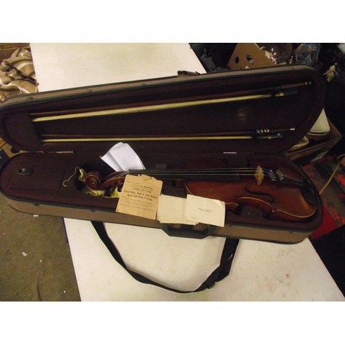 118 - Early 20th century violin, possibly scottish- with business card of Hrnry S Briggs of glasgow in har...