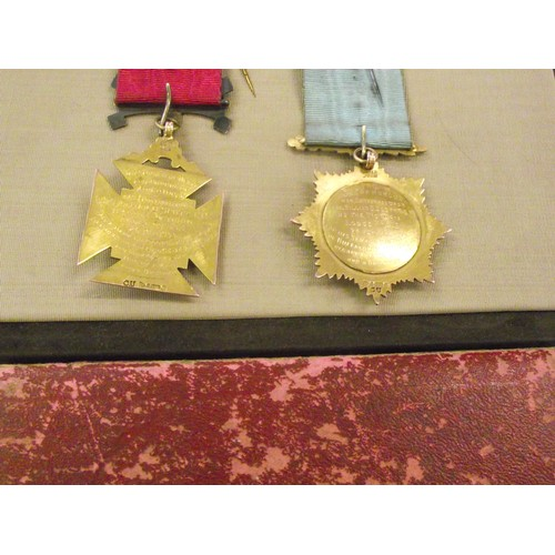218 - 2 x 9k Gold R A O B Medals Hallmarked Victoria Lodge 535 Dated 1934 & 1941.  For his services in the...
