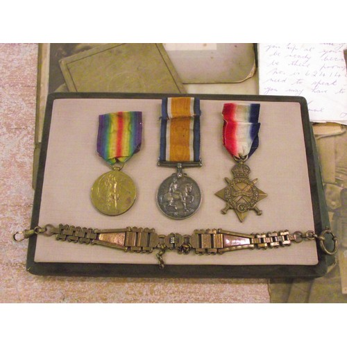 217 - Rare collection of 3 x 1st World War medals all names matching + Collection of ephemera in leather c...