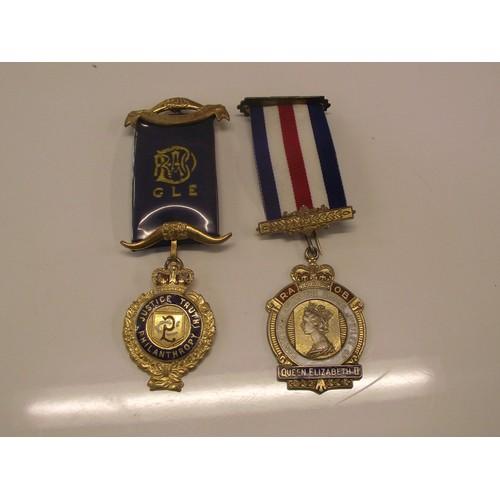 216 - 2 Hallmarked Silver R O A B medals.