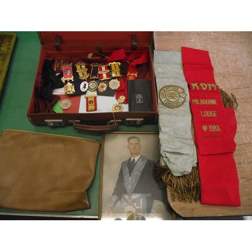 215 - Vintage thick leather case inc all R O A B medals, sashes ephemera etc....
