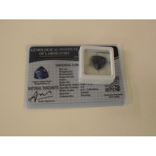 203 - Natural Tanzanite with gil certification trillion cut approx 10ct