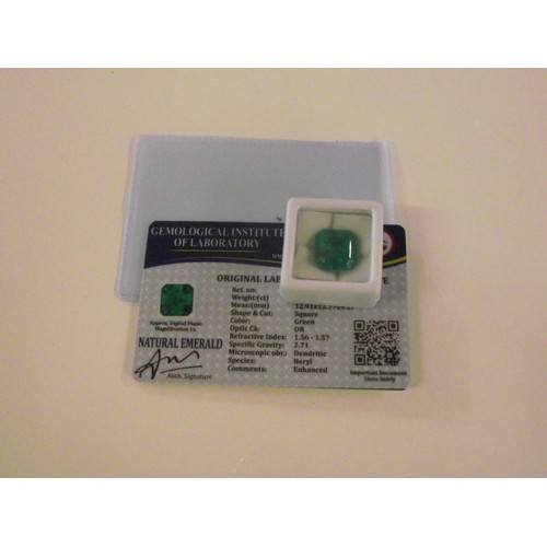 154 - Natural emerald with gil certification approx 11ct...
