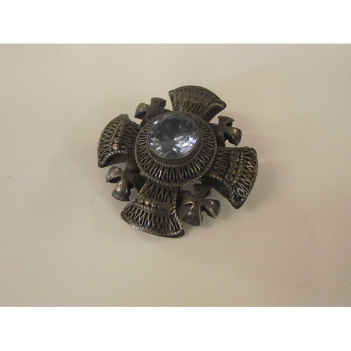 281 - Vintage white metal and large stone brooch , probably silver