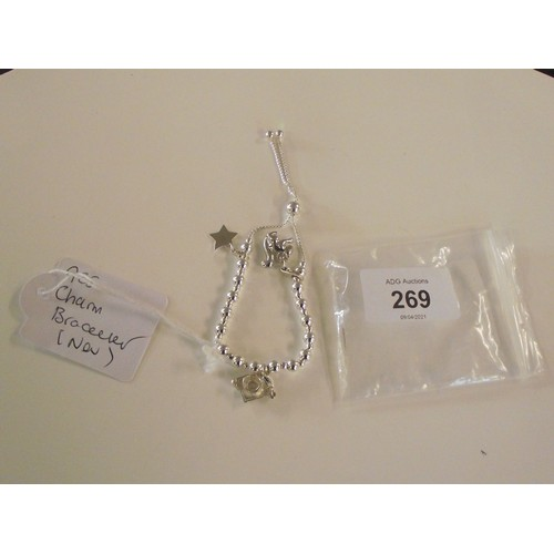 269 - New silver 925 charm bracelet