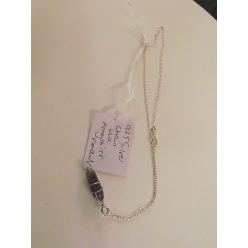 267 - 925 silver chain with amethyst pendant
