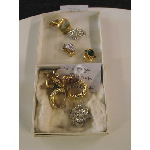 264 - Vintage clip on earrings and cufflinks