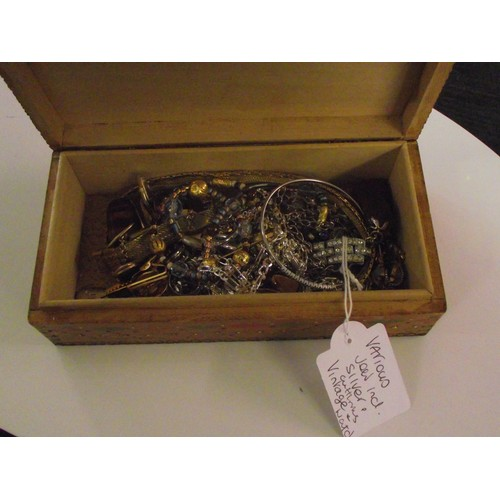 241 - Box of various jewellrey, including silver, cufflinks, watch ect