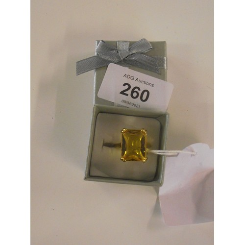 260 - Gold plate on silver ring with topaz stone