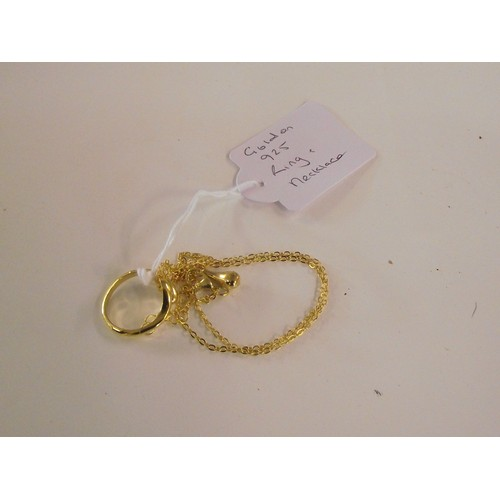 256 - gold plated 925 silver necklace and ring