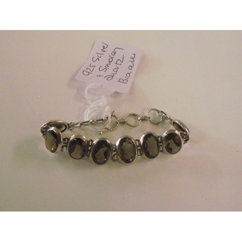 255 - Silver 925 and smokey quartz bracelet