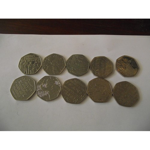 308 - 10 various collectors 50 p coins
