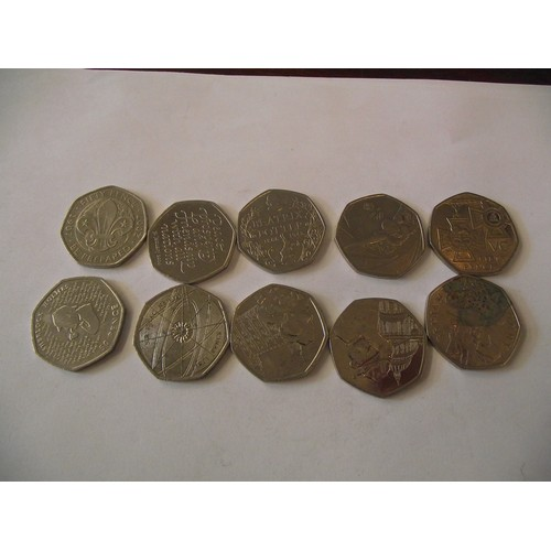 313 - 10 various collectors 50 p coins