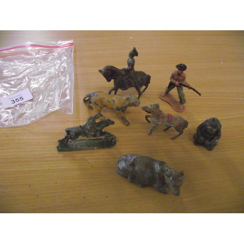 355 - Vintage lead toy animals