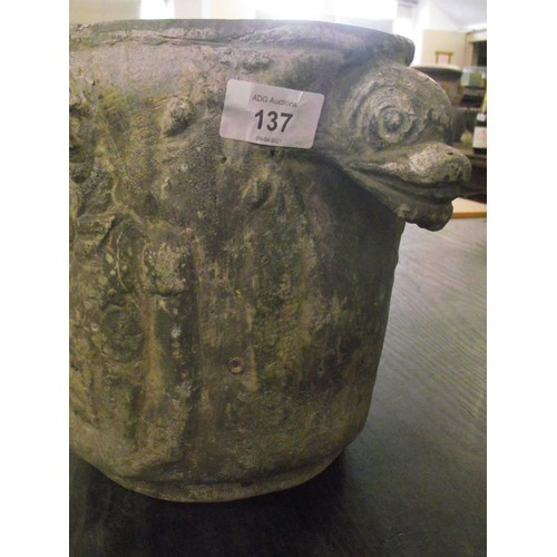 137 - Antique lead flower planter depicting Lord Nelson dated to believe from around 1805. With scalloped ...