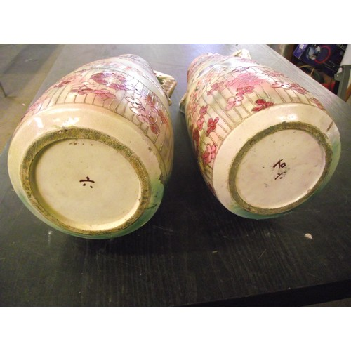 384 - 2 hand painted 19th century japanese vases marked to base - height approx 20 inches