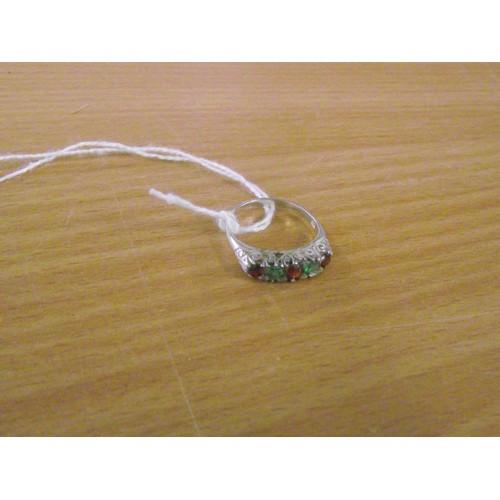 416 - Silver garnet ring size n