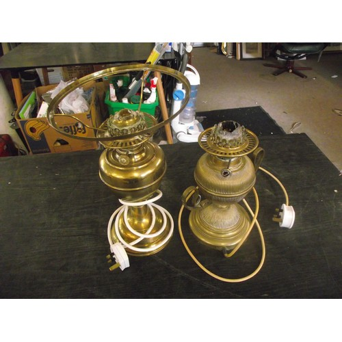 426 - 2 brass oil lamps converted to electric.