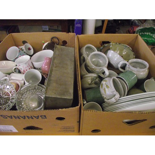 1 - 2 boxes assorted stoneware ect...