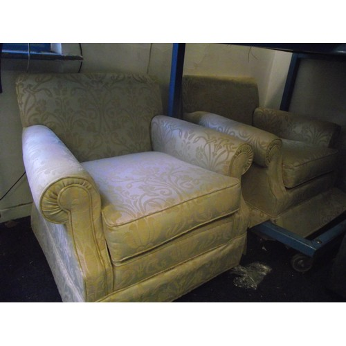 13 - 2 good quality upholstered lounge chairs...