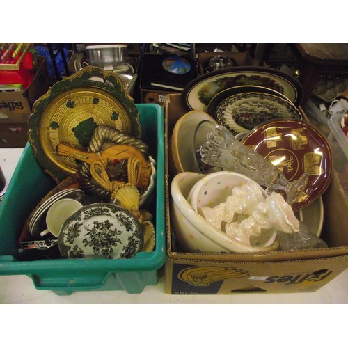 28 - 2 boxes assorted glass ect...