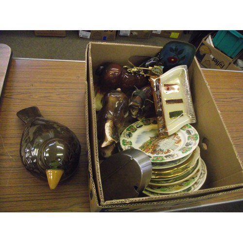 31 - Large ceramic bird , horses , glass ect...