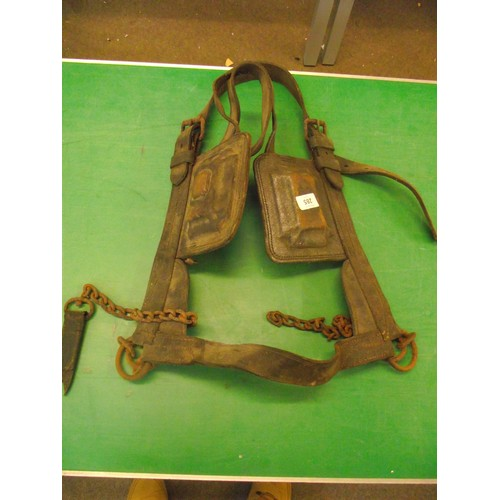 32 - Heavy Shire horse leather harness with blinkers....