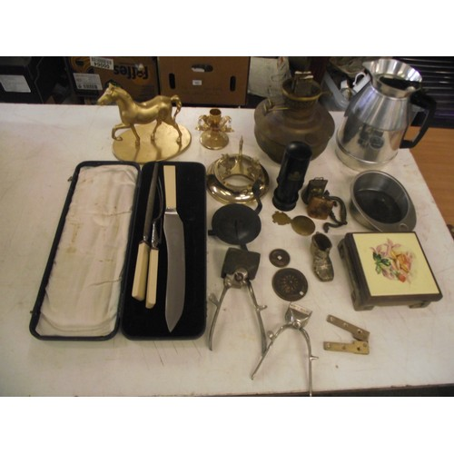 35 - Collection of assorted Retro & vintage metal ware inc nice Thermos pourer etc....