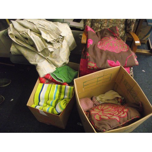 71 - 2 boxes of softs to include green floral lined certains (66inches drop 54 width) red and brown flora...