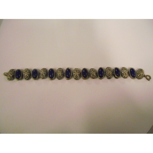 77 - Vintage white metal and blue stone bracelet...