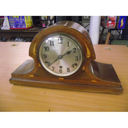 536 - Large decorative inlaid patterned striking Mantle clock with key.