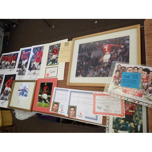 395 - Manchester United memorabilia inc framed signed photo's some with C.O.A's inc Diego Forlan, Ole Gunn...