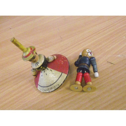 841 - Vintage Garmisch wooden spinning top and other wooden articulated figure...