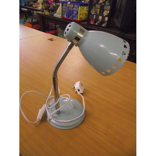 838 - Good looking powder blue desk lamp with metal shade...