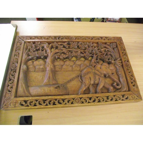 836 - Epicurean well carved heavy panel depicting elephants 28 x 18 x 2 inches