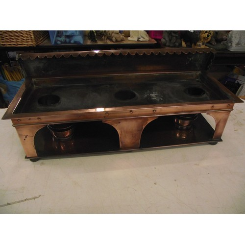 835 - Arts and crafts copper hotplates with 3 oil wicked burners with ebonised bun feet in great condition...