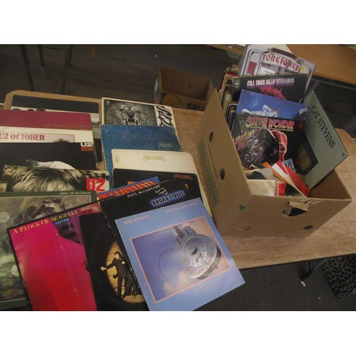 309 - Large box of vinyl LP's inc U2, Santana, Wings, Dire straits, Bruce springstien etc. approx. 50. no ...