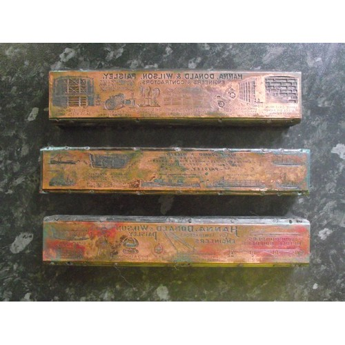 402a - 3 Antique/vintage Copper printing blocks from Hanna Donald & Wilson. Paisley Scotland  Ship builders...